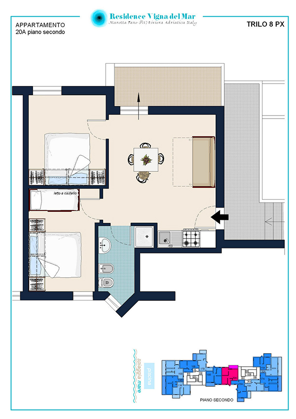 Three-room apartment 8 people